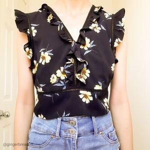 Xhilaration Black & Yellow Floral Crop Top